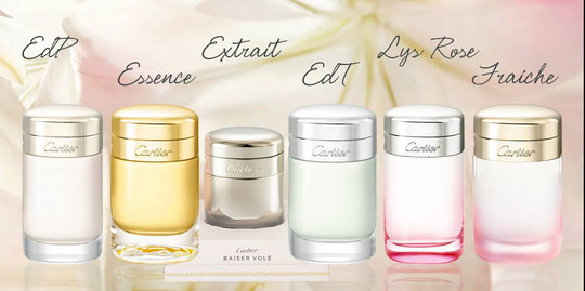 CARTIER : BAISER VOLE : LES DIFFERENTES VARIANTES DE LA FRAGRANCE