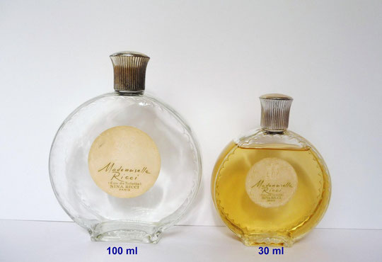 MADEMOISELLE RICCI - 1ère VERSION - 2 FLACONS MONTRE EAU DE TOILETTE : 100 & 30 ML - CREATION LALIQUE