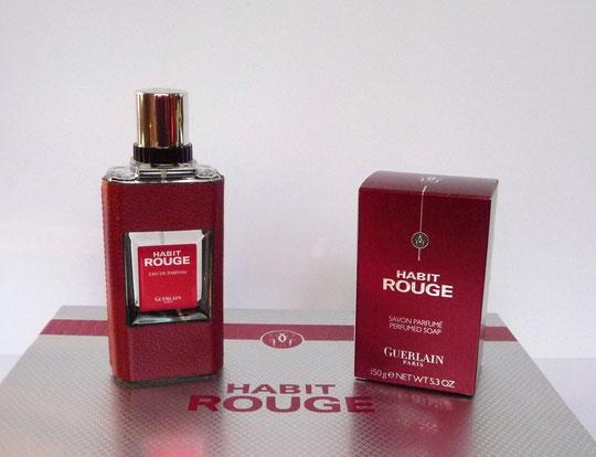 HABIT ROUGE : FLACON EAU DE PARFUM 100 ML RECOUVERT DE CUIR ROUGE & SAVON PARFUME