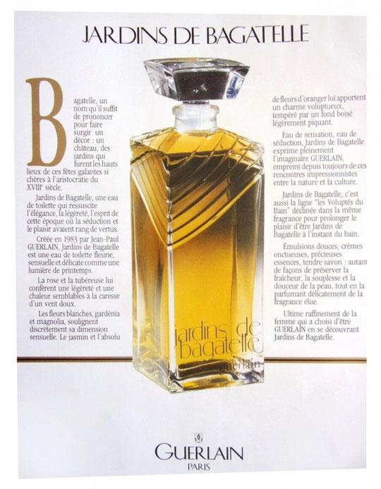 PAGE PUBLICITAIRE ANNONCANT LA SORTIE DE JARDINS DE BAGATELLE