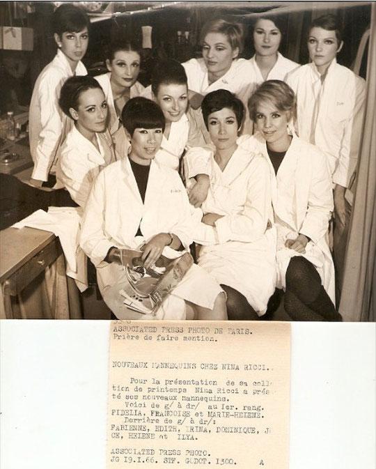 19 Janvier 1966 : PRESENTATION A LA PRESSE DES NOUVEAUX MANNEQUINS ENGAGES PAR LA SOCIETE NINA RICCI