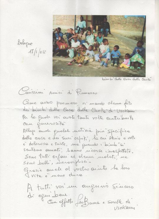 Risposta di Suor Bruna al Gruppo Giovani a seguito dell'aiuto che da anni fornisce alla Casa della Carità della Missione.