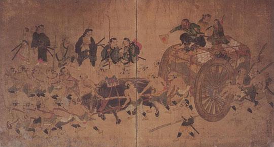 石曳図屏風(大阪城天守閣)