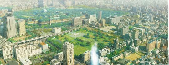 大阪城と難波宮。玉造は南東に位置する