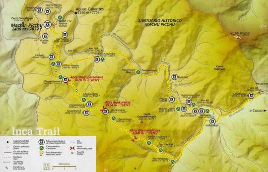 Karte vom legendären Inka Trail