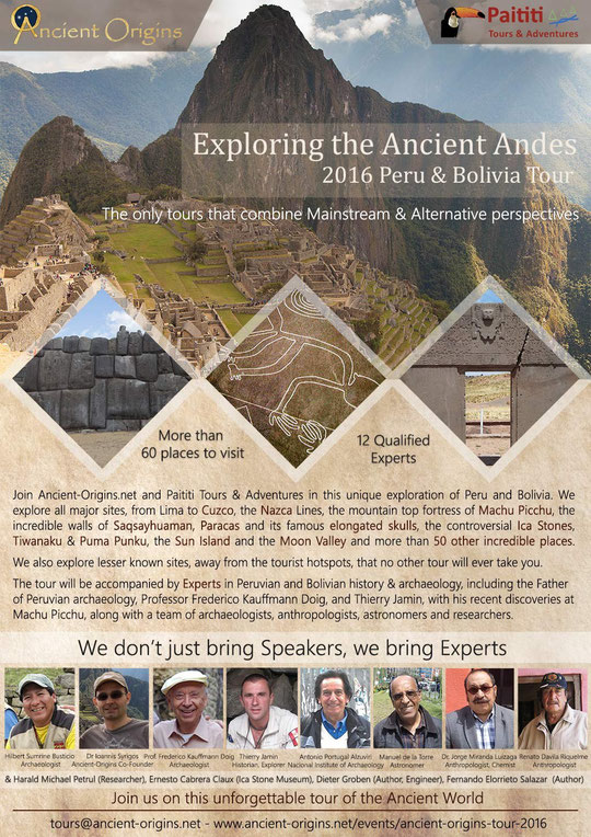 Paititi Tours and Aventures & AncientO-Origins.net present Exploring the Ancient Andes 2016 Peru & Bolivia Tour http://paititi.jimdo.com http://www.ancient-origins.net/events/ancient-origins-tour-2016