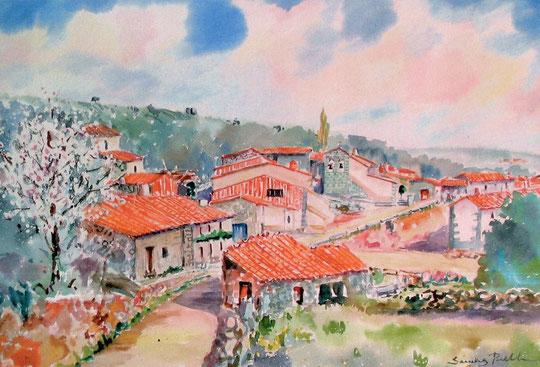 El pueblo del pintor. ( Acuarela )