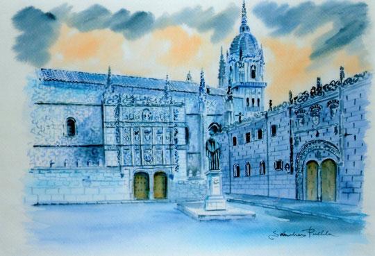 Salamanca: Universidad y Patio de Escuelas ( Técnica mixta )