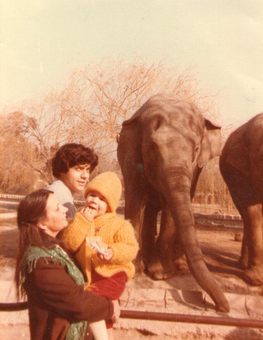 Con los elefantes y su cuidador.