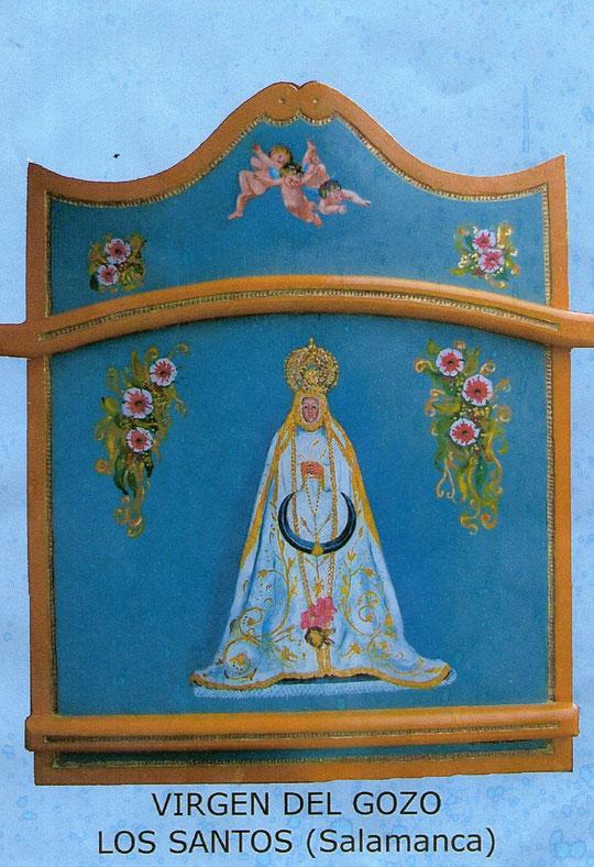 Virgen del Gozo. Una obra reciente  pintada al óleo sobre tabla  y policromada ( zarzo de carro)