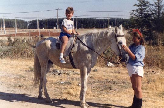 Con el caballo Manolo.