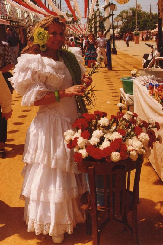 Los claveles reventones imprescindibles en la feria..............año tras año. F Pedro. P. Privada.