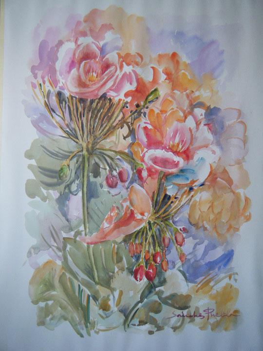 Flor de geranio. ( Acuarela )