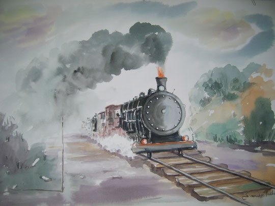 Locomotora antigua. ( Acuarela )
