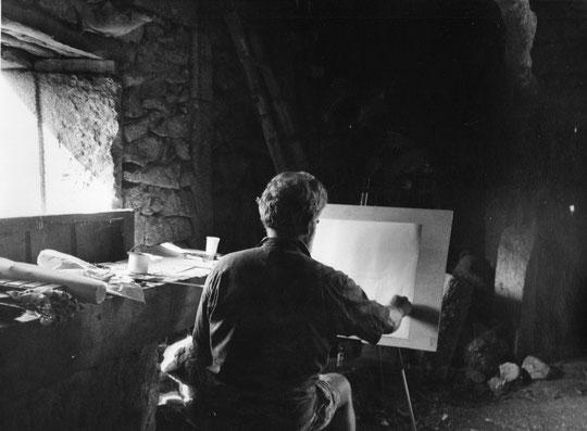 Espectacular foto de Pedro pintando, autor Antonio Bravo.