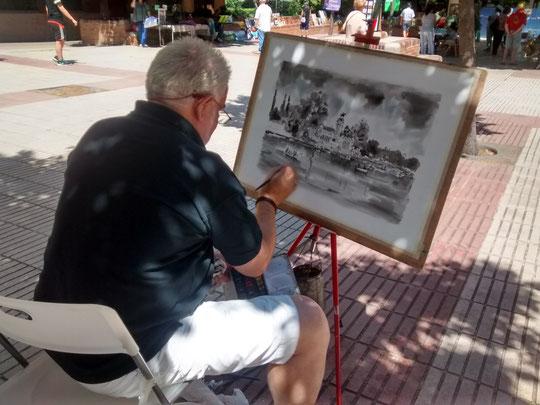 Pintando en la Plaza del Arte. ( Madrid )