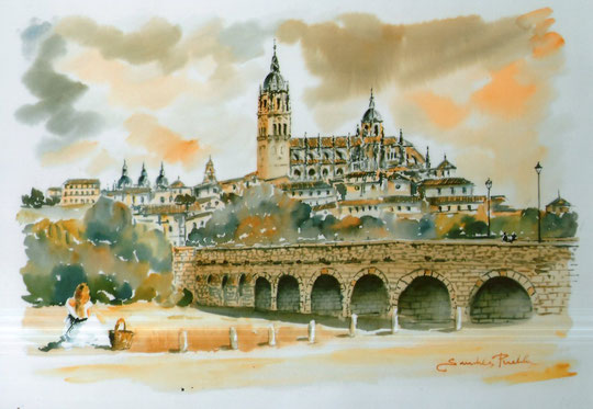 Puente romano de  Salamanca. ( Acuarela )
