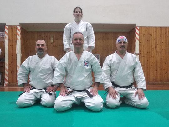 Silvia D'Arrigo ed Enrico Neami assieme ai maestri Alberto Boglio Shihan e Danilo Di Teodoro Jun.shihan.