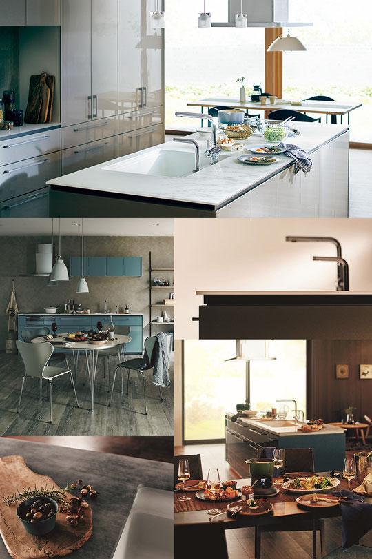 リビング空間での美しいキッチン