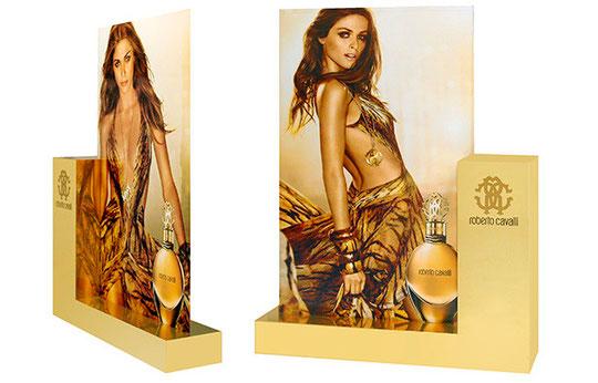 Displaymöbel. Korpus Dekorplatten, Verklebung mit Goldmetallicfolie & Folienschnitten. Weichschaumdisplay, beidseitig bedruckt