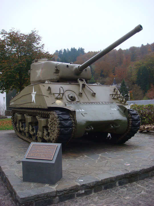 This US M4A3 (76) Sherman of CompanyB, 2nd Tank Battalion, 9th Armored Division is the only known surviving combat vehicle of the division. It was put out of action on December 17, 1944 while defending Clervaux here at the gate of the castle