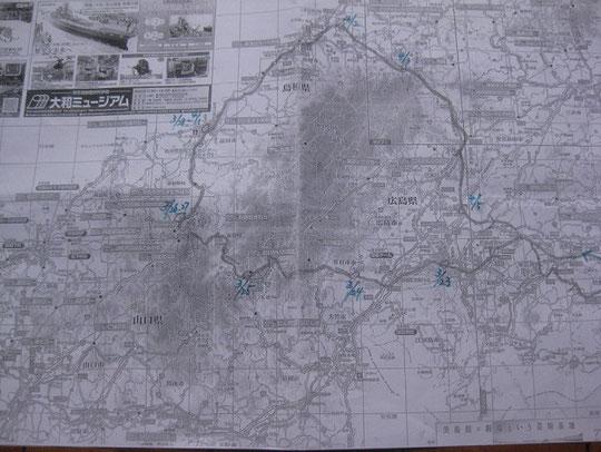 旅の行程。竹原から時計回りに、津和野街道を通って益田に向かう。作成者 / 望月信子
