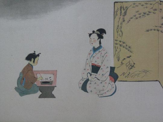母の静子(梅颸)から文字を教わる幼き頃の山陽(久太郎)が描かれている。