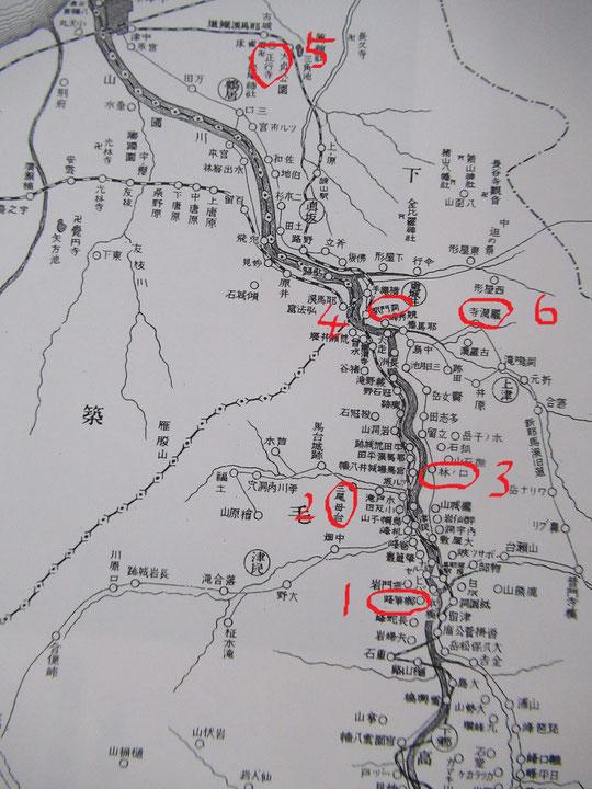 昭和初期の耶馬渓地図 近砂敦『耶馬渓』より転載