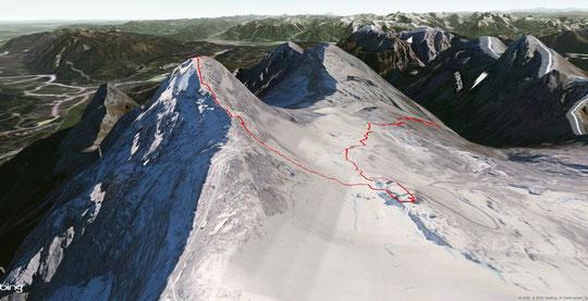 Panoramaansicht Originalroute von der Knorrhütte rechts, über Bahnstation Sonnalpin auf den Gipfel