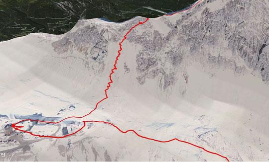 Route von rechts nach links von der Knorrhütte kommend über Sonnalpin, bergan auf den Grad Richtung Zugspitzgipfel