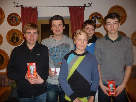Die fünf Gewinner | (v.l.n.r. Stepan Josef, König Ludwig, Thiel Dominik, Kugler Mario, Götz Jakob;)