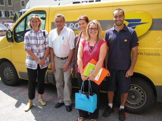 Participants au groupe de travail sur la communication : le cadre courrier réfèrent communication JM Léger, 3 facteurs qualité : H Dunand, T Christmann et G Monteillet et Anne-Sophie Louvat (directrice d'Etablissement).