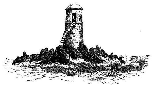 Tourelle associant balisage et un refuge pour naufragés sur le plateau des Duons en baie de Morlaix