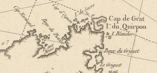 Détail de la carte précédente le lieu des attaques. Les inuits passaient tous les ans dans le nord de Terre-Neuve par le détroit de Belle-Isle pour chasser phoques et baleines