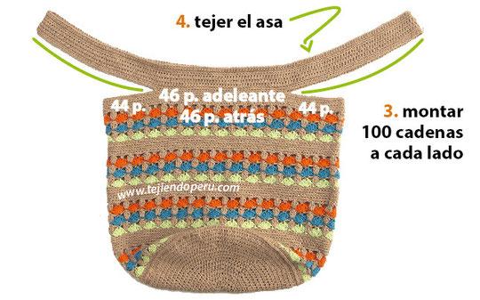 Bolso redondo calado con asas tejido a crochet
