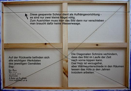 Rückseite der Keilrahmen - Doppelter Schutz vor Holzverformungen und Aufhängungvorrichtung