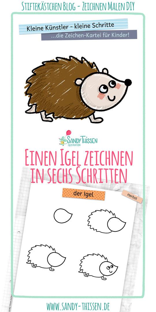 Igel zeichnen lernen in 6 Schritten Kinder Kita Kindergarten Schule Lehrer Erzieher Mamas Papas