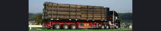 三菱ふそう スーパーグレート改3軸トラクターヘッド + 材木用3軸トレーラー