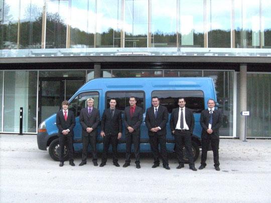 Techniker-Fahrgemeinschaft: v.l.n .r.: Stefan Broß, Christian Bächle, Steffen Dufner, Matthias Schweizer, Viktor Vogelsang, Daniel Borowik, Waldemar Vogelsang