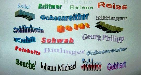 Darstellung von Vor - und Familiennamen zu unserer Familie als bunte Palette (Graphik: Ochsenreither)