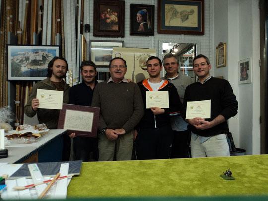 """Da sinistra: Silvio Scotti (""""Valoroso"""" e miglior giocatore 2010), Franco Iacca, Loris Mazzoletti, Gabriele Tabacchini (""""Maresciallo"""" 2010), Fausto Cominato, Stefano Plescia (""""Divisionale"""" 2010)"""