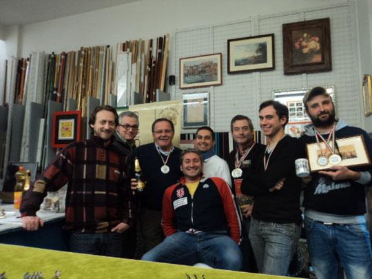 Da sinistra: Silvio Scotti, Fausto Cominato, Loris Mazzoletti, Mariano Capozzi, Stefano Plescia, Gabriele Tabacchini, Mauro Fustolo e, seduto, Franco Iacca