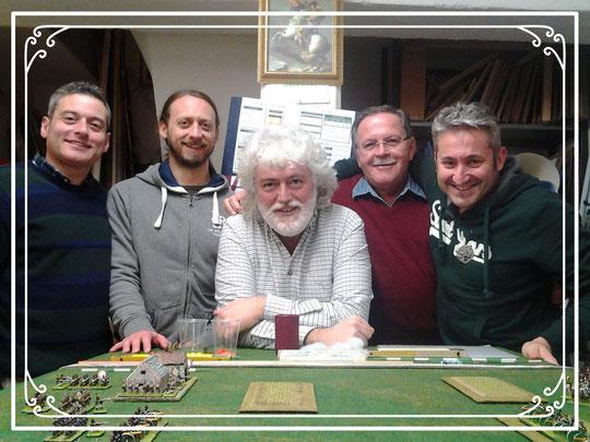 Da sinistra: Stefano Plescia, Silvio Scotti, Luigi Pecchia, Loris Mazzoletti e Franco Iacca