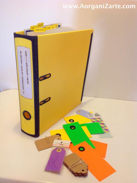 archivador para organizar etiquetas