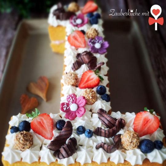 Numbercake, Lettercake, Motivtorte, Kuchenrezept Zahl Buchstabe