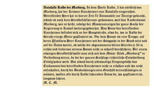 veröffentlicht in der Zeitschrift DER MOTORFAHRER am 01.Sept.1911