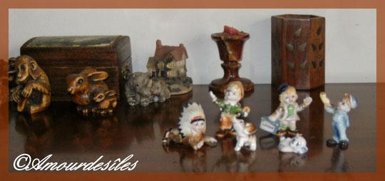 Série d'une petite collection de bibelots de mon enfance, en porcelaine...