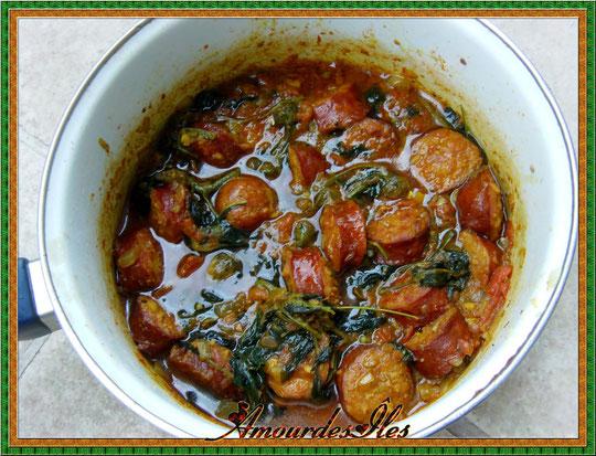Voici enfin la photographie de ce plat traditionnel, ici, je l'ai préparé avec de la saucisse et de la viande de porc...