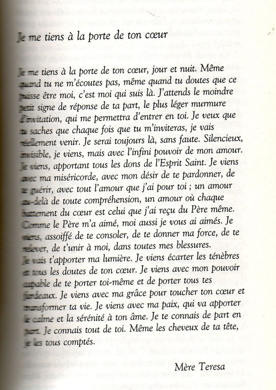 """DANS """"LA FOLIE D'AMOUR"""" de MERE THERESA"""