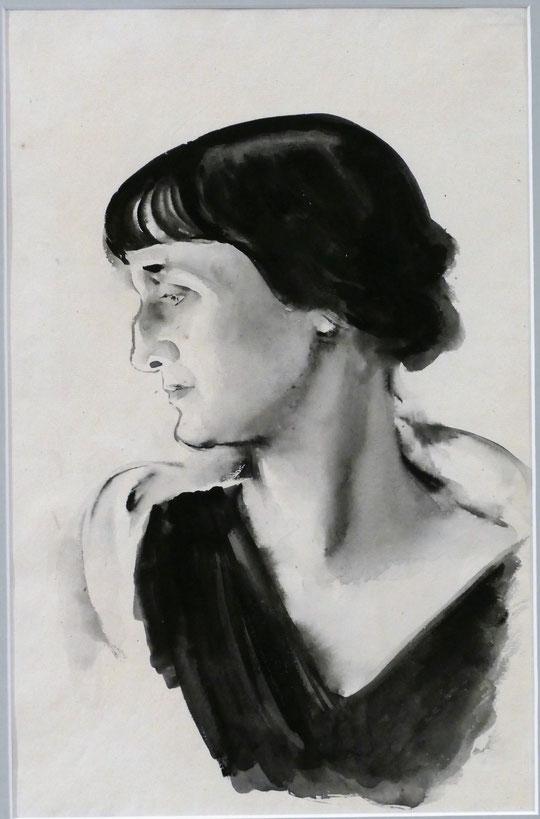 Nikolai Tyrsa (1887-1942) : portrait d'Anna Akhmatova (1928)